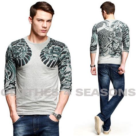 Fashion Dragon Tattoo T Shirts Men Slim Fit Wear Lycra