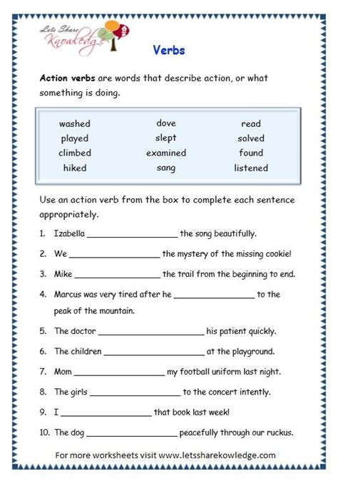 image result for worksheets of verbs for grade 2 english