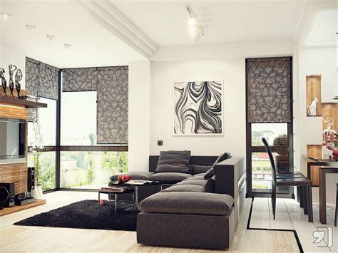 black white gray living room interior design ideas