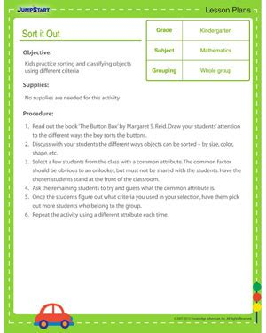 preschool math lesson plan sort it out kindergarten math lesson plan jumpstart 371