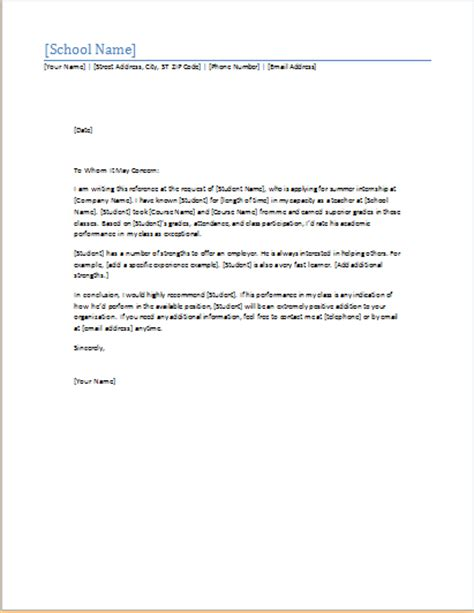 student recommendation letter ms word student academic letter templates formal word 33387