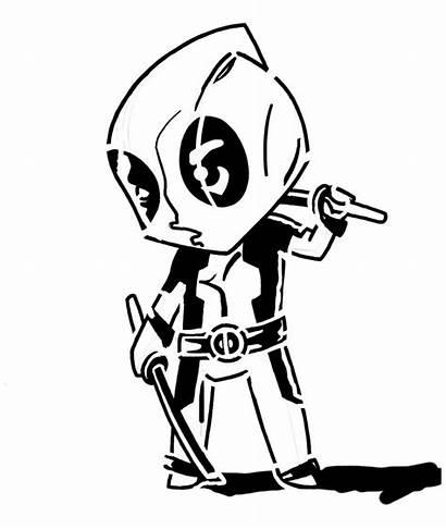 Deadpool Stencil Drawing Avengers Stencils Silhouette Chibi