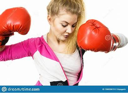 Boxing Gloves Wearing Woman Fighting Confident Sporty