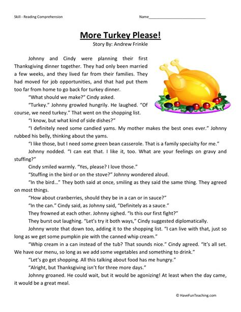 reading comprehension worksheet more turkey