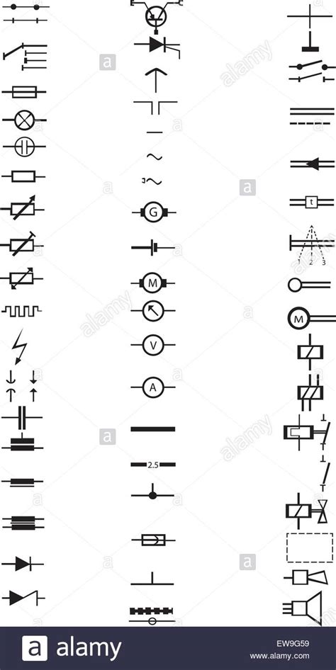 an extensive list of numerous electrical signs and symbols