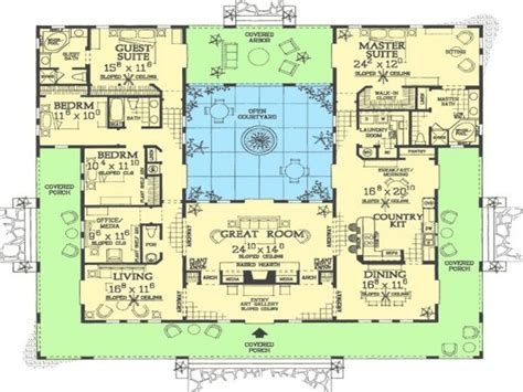 pool mediterranean house plans floor plan  courtyards