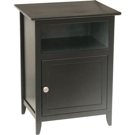 solid wood end table in black 20115