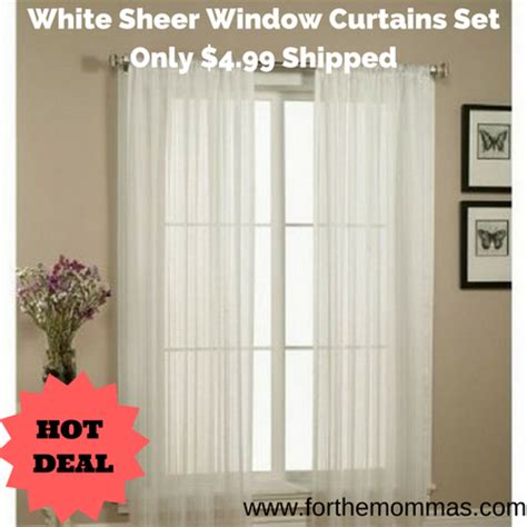 Kmart White Sheer Curtains by White Sheer Window Curtains Set Only 4 99 Shipped