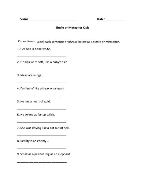 metaphors worksheet year 5 them and try to solve