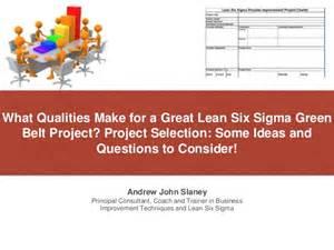 Lean Six Sigma Green Belt Project Ideas
