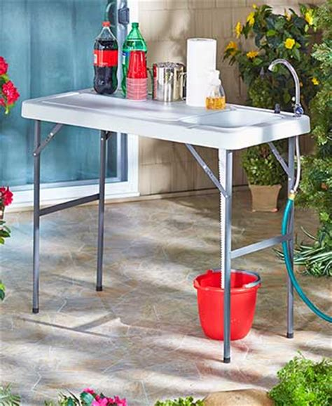 portable cing sink table portable folding cleaning cutting table outdoor cing