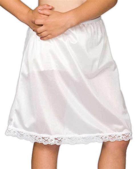 Girls White Nylon Half Slip with Lace Hem - Christening.com