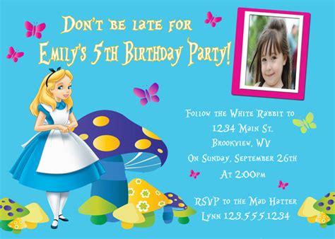 Alice In Wonderland Birthday Invitations Anarchistshemale