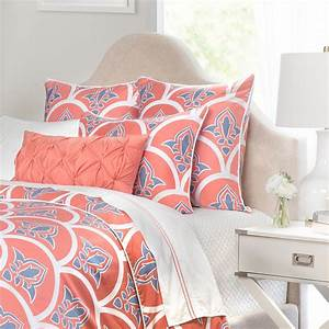 Coral scalloped bedding the coral clementina crane for Coral and blue duvet cover