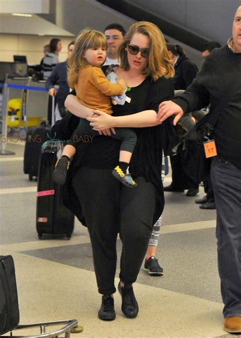 Singer Adele and her son Angelo Konecki arriving on a ...