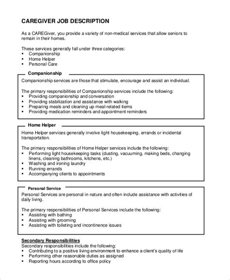 Caregiver Description For Resume Exle sle caregiver resume 7 exles in word pdf