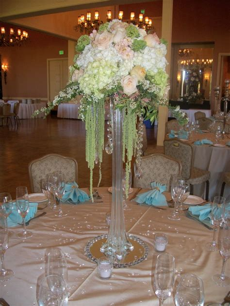 eiffel tower centerpiece  crystals roses hydrangea