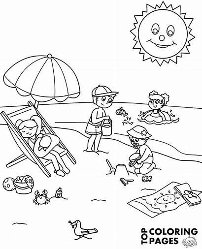 Coloring Beach Sea Summer Children Fun Holiday