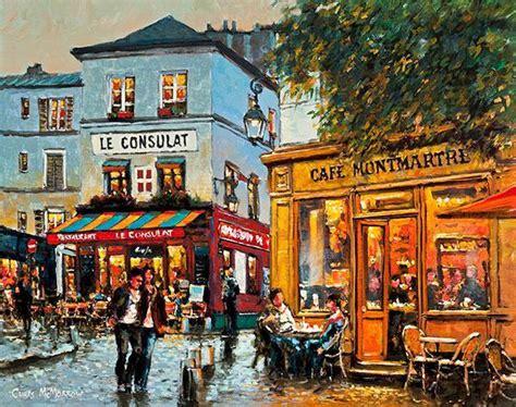 painting print  cafes  streets  montmartre paris