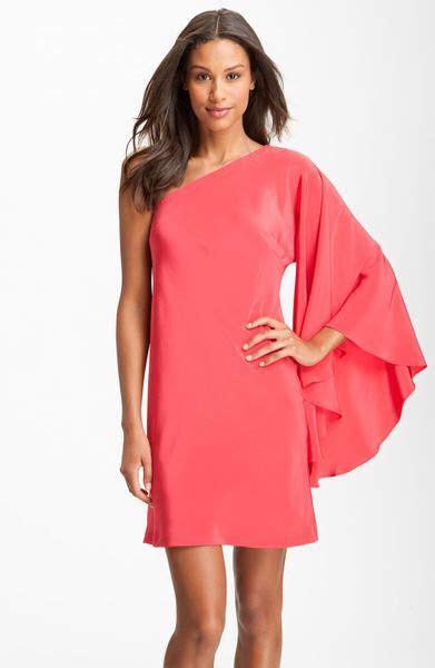 One Shoulder Drape Sleeve Dress - miller drape sleeve one shoulder dress in