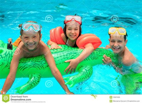 Kids In Swimming Pool Stock Image. Image Of Brother, Mask