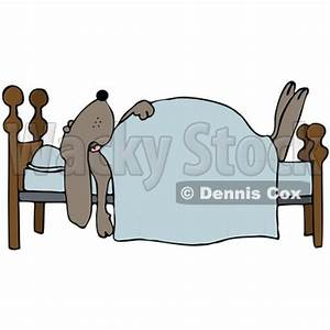 Clipart Illustration of a Dog Snoozing Under A Blanket On ...