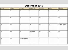 December 2019 Calendar yearly printable calendar