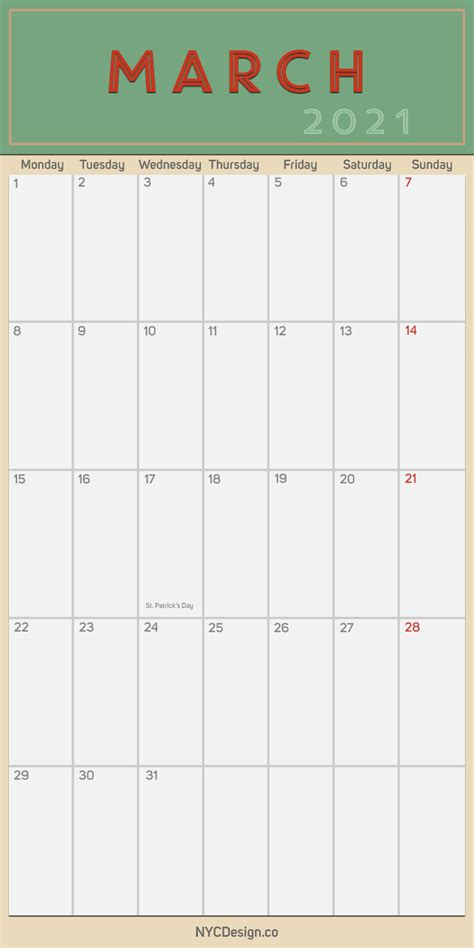 march monthly calendar  holidays printable