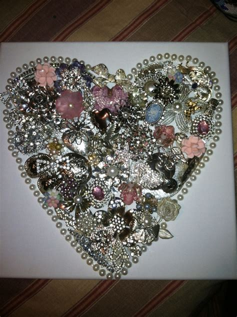 valentines heart    recycled costume jewelry