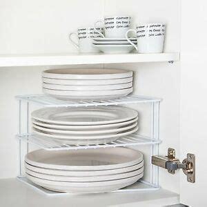 corner plate rack strong  tier plate pot kitchen cupboard organiser storage ebay