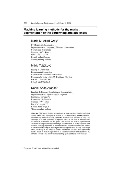 (PDF) Machine learning methods for the market segmentation