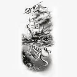 Pirates Of The Caribbean Sinking Ship by Poseidon Watching A Kraken Take Down A Ship Tattoo Design