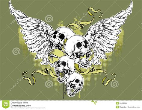angel skull royalty  stock photo image
