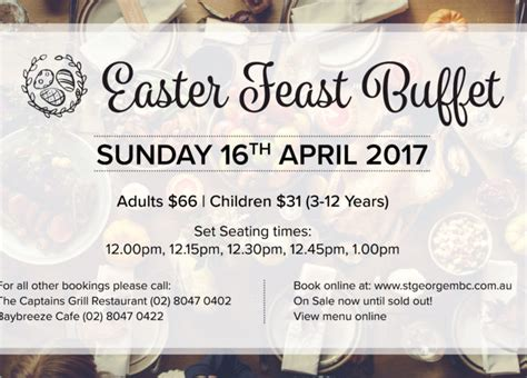 St George Motor Boat Club Function Menu by Easter Feast St George Motor Boat Club