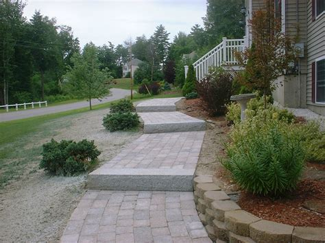 walkway steps walkway granite steps retaining wall flower beds chester nh labrie property maintenance