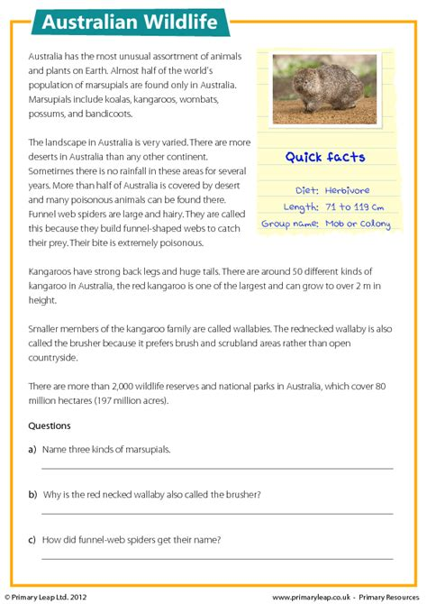 free comprehension worksheets year 4 australia