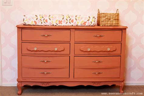 French Provincial Baby Nursery by Nursery Annie Sloan Chalk Paint Coral Dresser Makeover