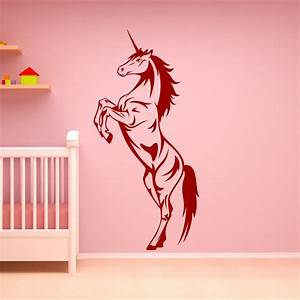 unicorn rearing horse animals wall art decal wall stickers With unicorn wall decal