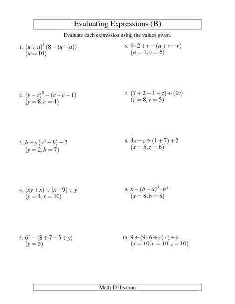 Algebraic Expressions Worksheets Homeschooldressagecom