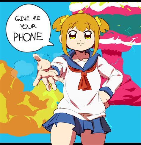Pop Team Revolvy Give Me Your Phone Pop Team Epic Your Meme