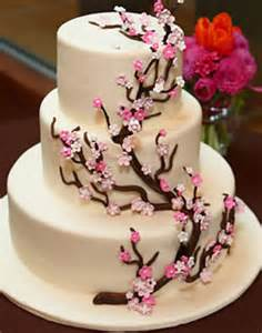 cherry blossom wedding cake wedding cake with cherry blossom accent i 39 ve been looking flickr