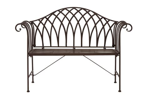 Rod Iron Benches by Ornate Wrought Iron Metal Bench Antique Brown Patio Garden