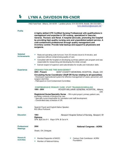 Registered Resume Template by Writing Resume Nursing Position Mba Essays Sle