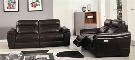 brown leather recliner sofa set 2 piece forma full italian dark brown leather power