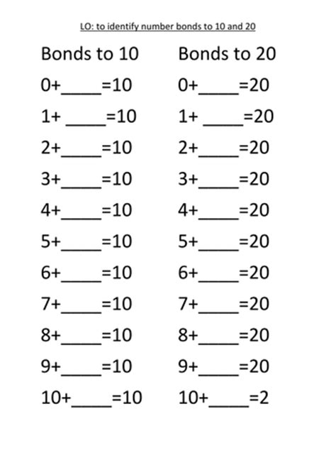 work sheets number bonds to 10 20 and 100 by