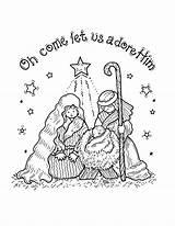Nativity Coloring Printable Sheets Jesus Cards Sheet Crafts Clipart Paper Bethlehem sketch template