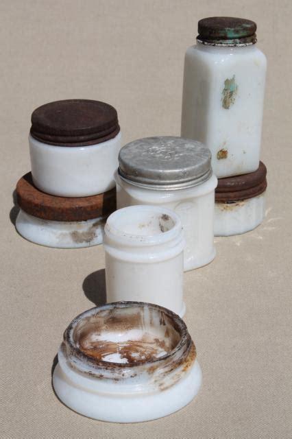 antique vintage milk glass jars ointment pots