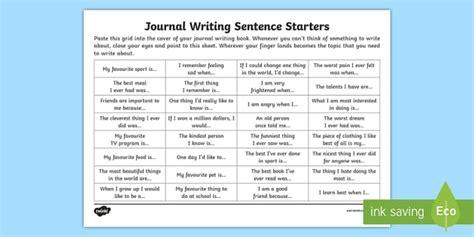 journal writing sentence starters worksheet diary writing