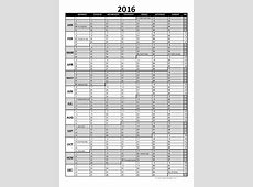 2016 Excel Yearly Calendar 06 Free Printable Templates