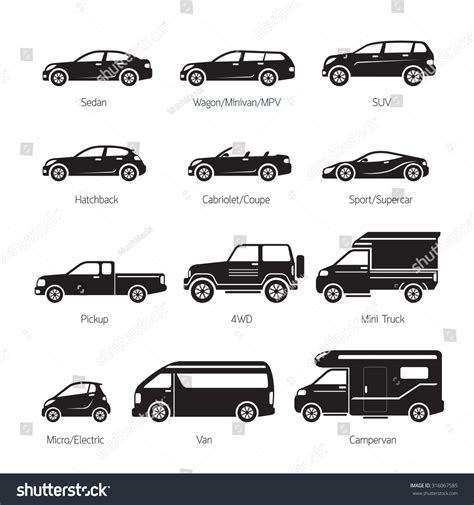 Royalty-free Car Type And Model Objects Icons Set